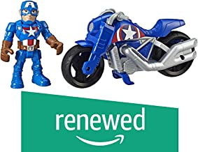 (Renewed) Super Hero Adventures Marvel Super Hero Adventures Captain America, 5-Inch Figure and Motorcycle Set, Collectible Toys for Kids Ages 3 and Up
