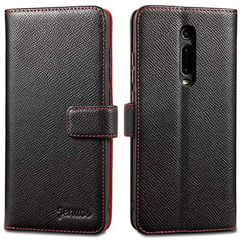 Jenuos Cover Xiaomi Mi 9T / Mi 9T PRO, Vera Pelle Flip Libro Custodia a Portafoglio Folio Telefono con Magnetica Chiusa per Xiaomi Mi 9T / Mi 9T PRO - Nero (M9T-EG-BK)
