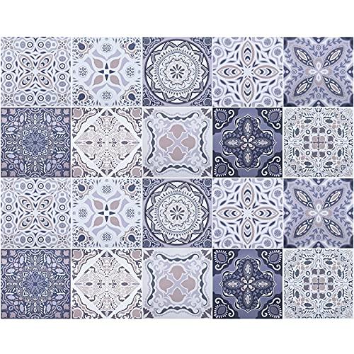 20 Piezas Pegatinas de Azulejos, 20x20cm Baldosas de Mosaico Adhesivo Decorativo, Pegatina de PVC para Decorar Azulejos Cocina Baño Dormitorio Decoración, Pegatinas de Azulejos DIY