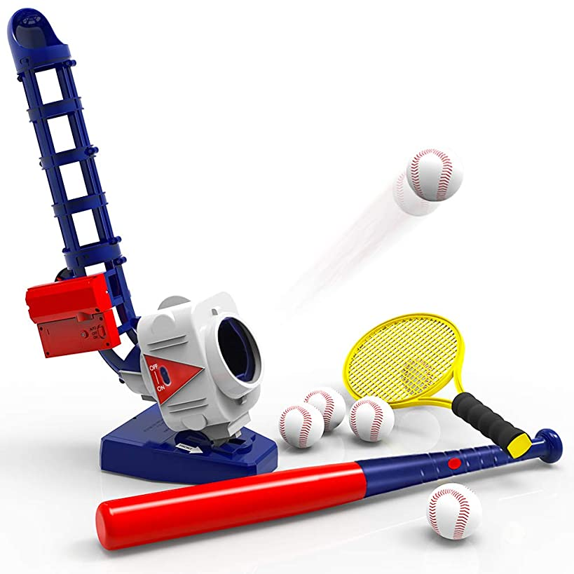 iPlay, iLearn 2 in 1 Baseball & Tennis Pitching Machine, Remote Control Bat, Automatic Pitcher, Active Training Toys Set, Outdoor Sport Games, Gifts for 3, 4, 5, 6, 7 Year Olds Kids, Boys, Girls