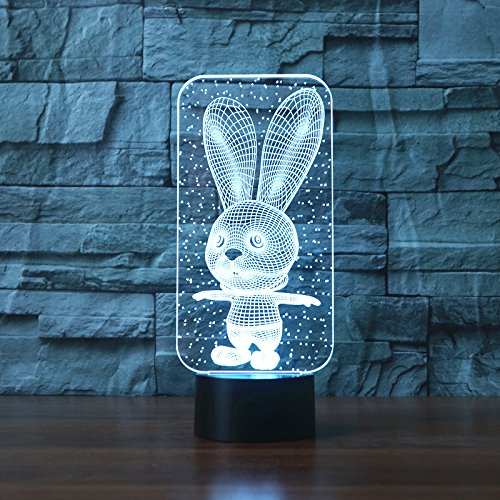 Big Ears Rabbit Bunny 3D LED Night Light USB Table Lamp Kids birthday Gift Bedside home decoration