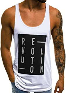 Willow S 2019 Fashion Men's Casual Slim Fit Simple Letter Printed Color Matching Sleeveless Tank Top T Shirt Top Blouse