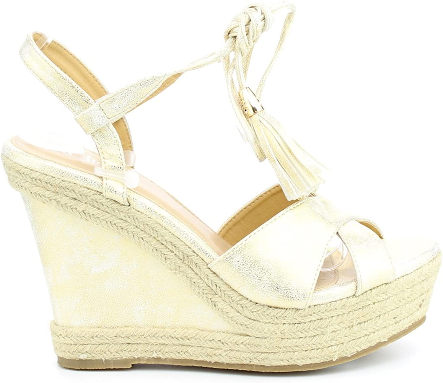 Westcoast Beverly-01 Women's Leatherette Peep Toe Ankle Wrap lace up Wedge Sandal Champagne 10