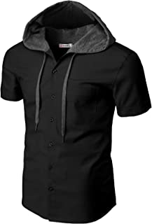 H2H Mens Casual Hoodie Jackets Check Patterned Long Sleeve with Front Pockets