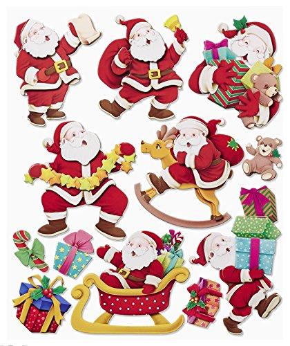 Stickerkoenig Wandtattoo 3D Sticker XXL Set - Weihnachten Weihnachtsmann Nikolaus Weihnachtsdeko Weihnachtsmänner Winter Deko auch für Fenster, Türen, Schränke etc…