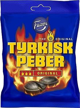 Fazer Tyrkisk Peber - Original - Finlandés - Regaliz Salado - Salmiakki - Salmiak - Salmiac - Hervida - Pimienta - Caramelo - Duro - Dulces - Bolsa 5.29oz
