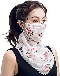 SolForis Fashion Face Scarf Mask Printed Scarf Cool Lightweight Summer Protection Scarf Bandana UV Protective for Outdoor