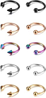 14G 16G Septum Jewelry Surgical Steel Small Septum Ring for Women Men Nose Nostril Rings Lip Labret Cartilage Body Piercing (10 Pairs,Gold,Silver,Rose Gold,Black)