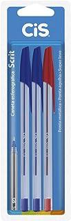 Caneta Esferográfica Scrit 1 mm, Azul/Vermelho, Blister, Pacote de 3