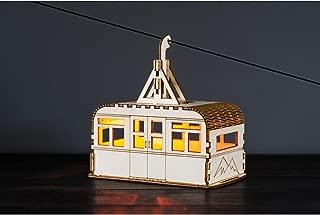 WHAT ON EARTH Solar-Lit Cable Car Nightlight - Poplar Wood Easy Assemble Model Building Kit - 12