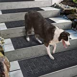 """Outdoor Stair Treads,Set of 4, Stair Carpets for Outdoor Steps, 8.5"""" x 30"""" Stair Carpet Treads with Rubber Backing for Old Dogs, Indoor Outdoor Step treads Non Slip, Grey Stripes Pattern Aucuda"""
