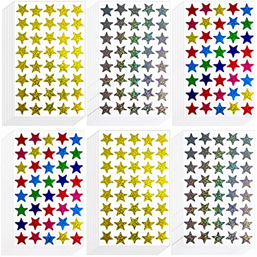 Kenkio 2400 Count Laser Shiny Sparkle Star Stickers Colorful Gold Sliver Self Adhesive Star Stickers for Home, School,DIY and Office Decoration