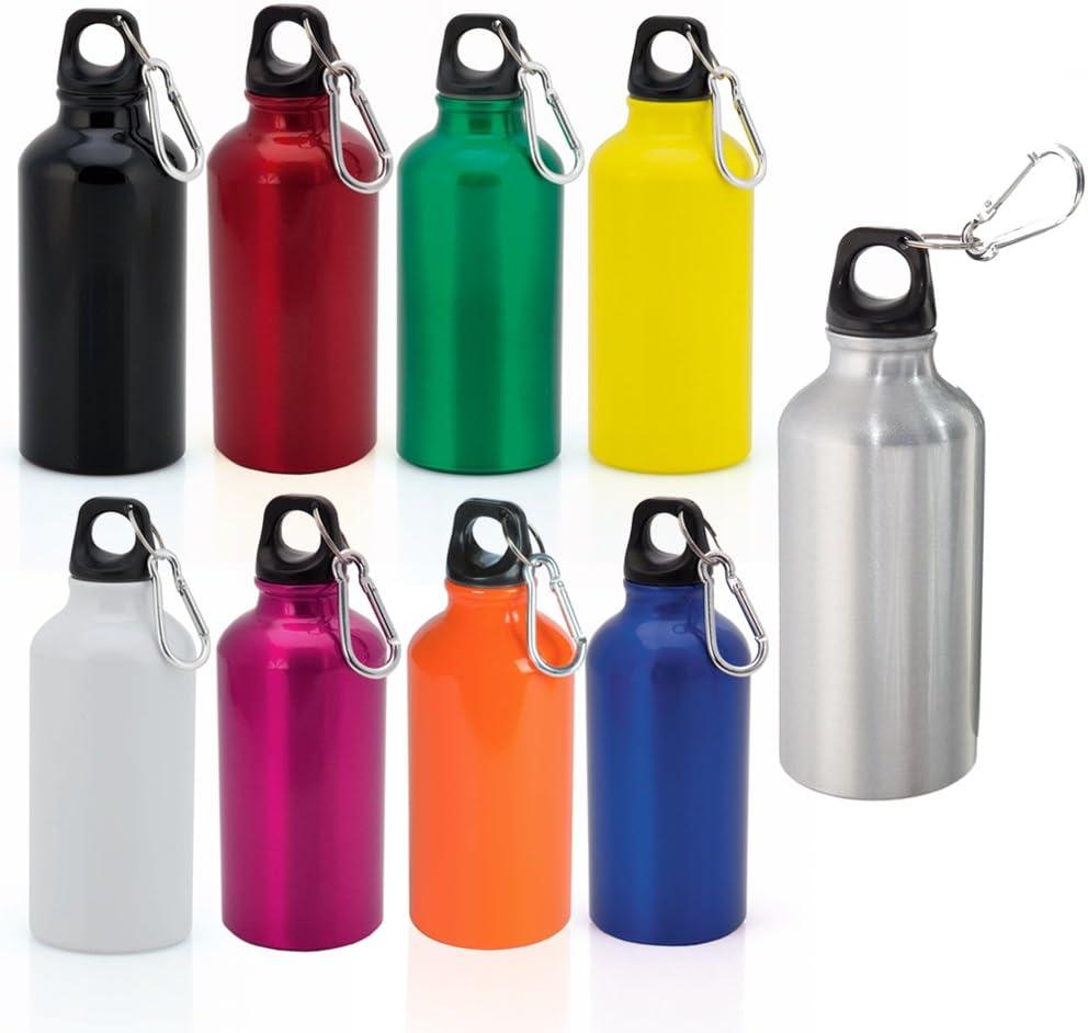 eBuyGB Aluminium-Trinkwasser-Flasche mit Schraubverschluss und Karabiner 400ml