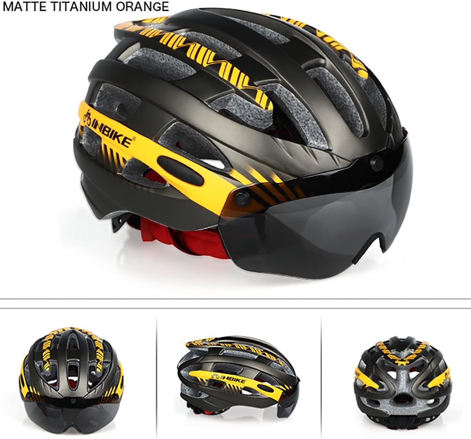 Bicycle Helmet Adsorption Goggles Strengthen Strong EPS Materials Safety Helmet Safer (Unisex, 4 colors),Yellow(M)