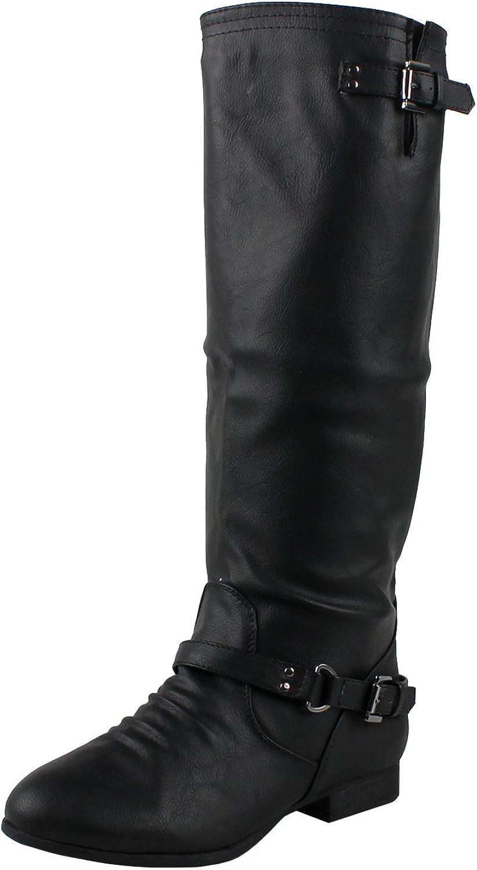 shoes19 Women's Mid Calf Combat Boots, 9 B(M) US, Black Pu