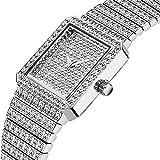 Mujeres reloj señoras hacia fuera helado reloj acero correa Bling Bling manera Relojes acero inoxidable para mujer cristal diamante señoras relojes cuarzo analógico pulsera pulsera encanto,Plata