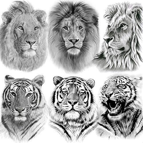 EGMBGM 6 Sheets Tribal Realistic Lion King Temporary Tattoo Stickers For Men Kids Cool Black Ink Tiger Drawing Waterproof Fake Tattoos For Women Body Art Real Large Tatoos Temporary Paper Set Animals
