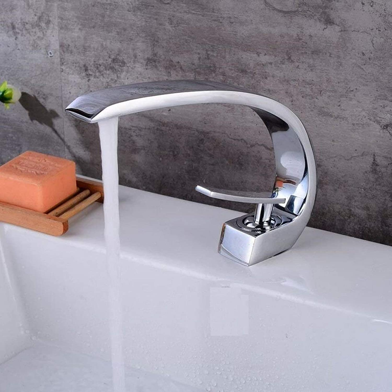 Bathroom Kitchen Sink Faucet,Silver Modern Design C Shape Single Handle Cold and Hot Mixing Faucet.