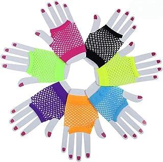 LIOOBO 10 Paare Kostüm Fingerlose Handschuhe Lace Mesh Fingerlose Handschuhe für Hochzeit 80er Jahre Party Favors (zufällige Farbe)