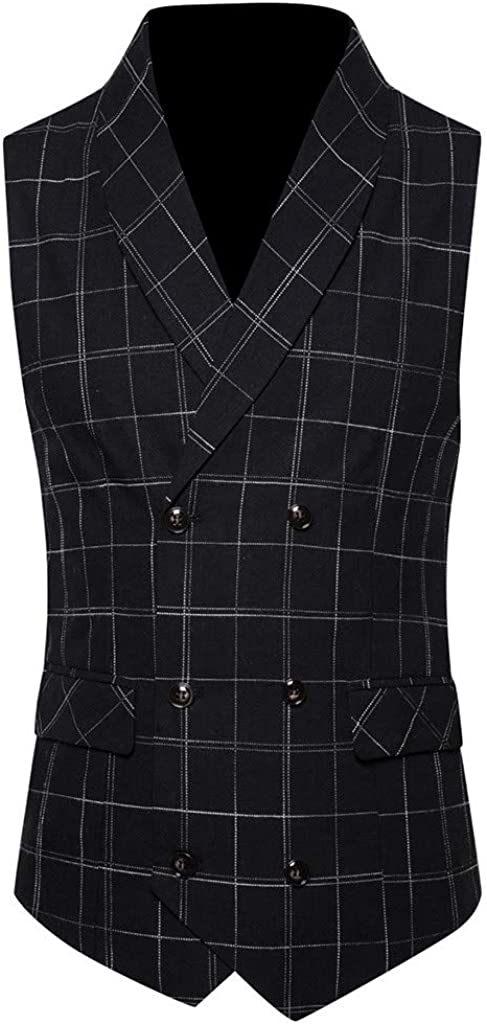 GREFER Suit Vest for Mens Plus Size Casual Double Breasted Jacket British Style Plaid Sleeveless Outwear Waistcoat