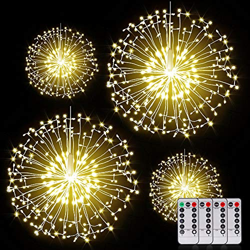 Fairy Firework String Lights Wire Lights,200 LED DIY 8 Modes Dimmable Lights with Remote Control, Waterproof Decorative Hanging Starburst Lights for Christmas, Home, Patio, Indoor Outdoor Decoration