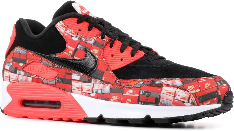 Nike Mens Air Max 90 Print Black Crimson-White Synthetic Size 7