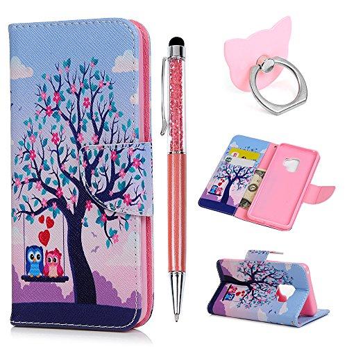 Hülle für Samsung Galaxy S9 Badalink Eule A Handyhülle Leder PU Cover Magnet Flip Case Schutzhülle Kartensteckplätzen und Ständer Handytasche mit Eingabestifte und Ringschnalle