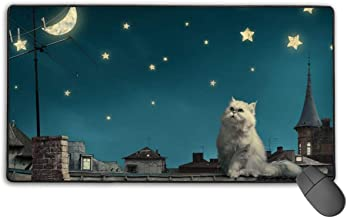 Large Gaming Mouse Pad Night Stars Cats Moon Non-Slip Rubber Thicken 3 Mm Keyboard Mouse Mat Mousepad 15.7