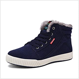 Hangwucha Men Winter Boots Waterproof Snow Boots Lace Up Ankle Boots Warm Winter Shoes