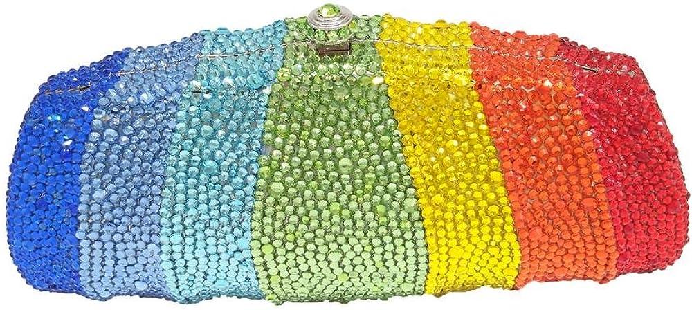 Elegant Women Rainbow Crystal Clutch Bag Evening Wedding Purse and Handbag