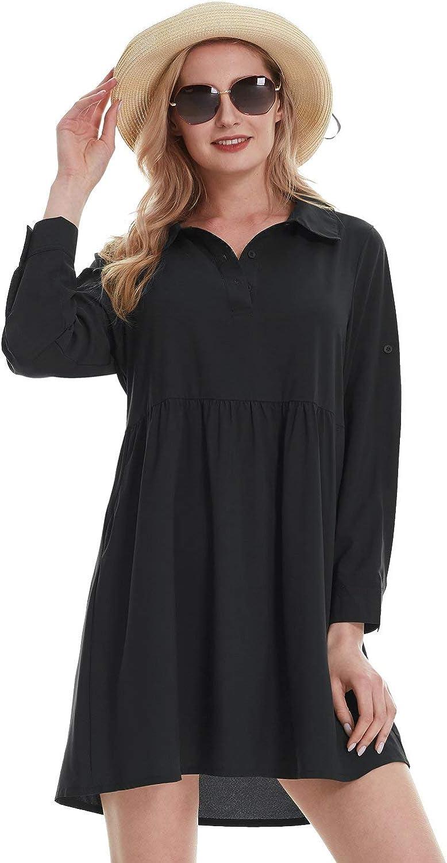 BALEAF Women's Swimsuit Cover Up Shirt Loose Flowy Swing Tunic Dress Shirtdress with Pockets Beach Swimwear UPF 50+