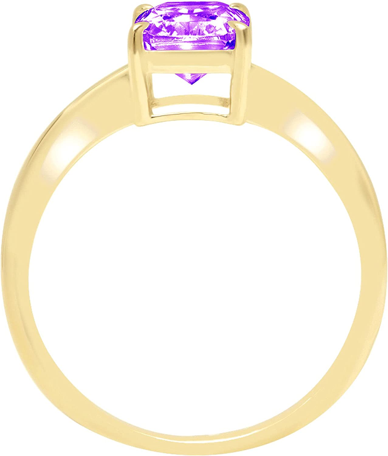 1.7ctBrilliant Radiant Cut Solitaire Natural Purple Amethyst Ideal VVS1 4-Prong Classic Designer Statement Ring Solid Real 14k Yellow Gold for Women