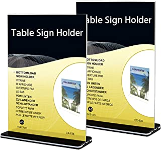 GKanMore Acrylic Table Sign Holder A5 Size Sign Display Holder Stand T-Shape Clear Table Card/Picture/Ad/Price/Menu Display Holder, Pack of 2