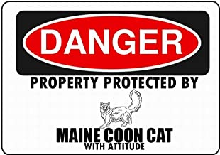 Gogik Maine Coon Cat Parking Only Maltese Wall Tin Sign Iron Painting Vintage Metal for Bar Garage Cafe Home12 X 8 in