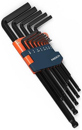 Presch set professionale di 13 chiavi a brugola con testa a sfera HX - Chiavi piccole e compatte con supporto