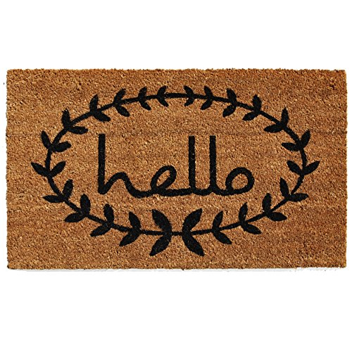 "Home & More 121811729 Calico Hello Doormat, 17"" x 29"" x 0.60"", Natural/Black"