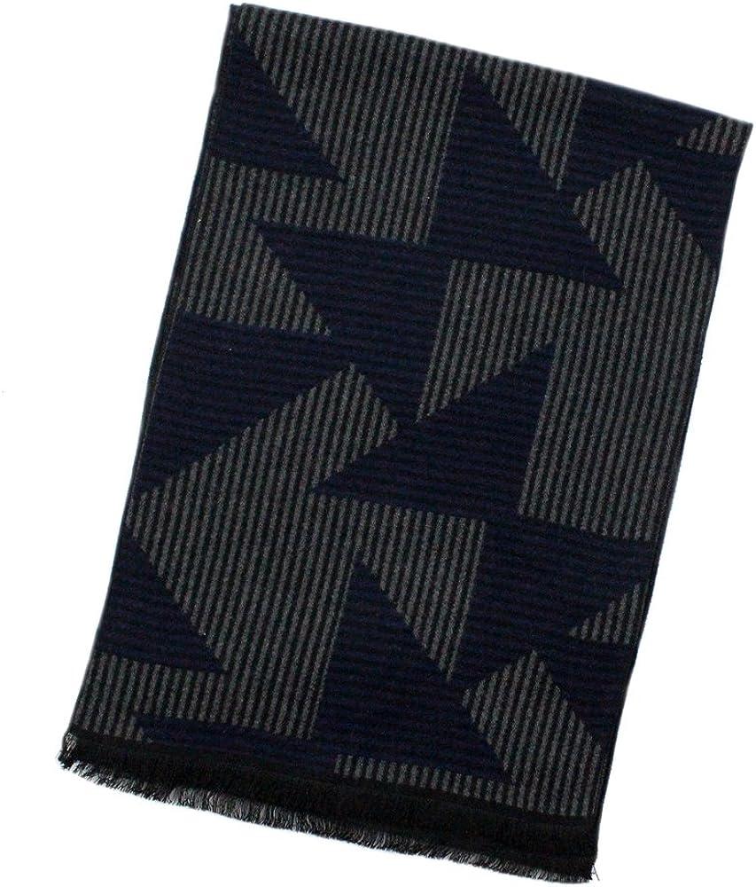 StarGo Warm Cashmere Feel Men Scarf,100% Cotton Fashion Scarves, In Gift Box (Black Grey Triangle)