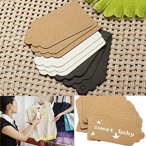 Bazaar 100pcs 7x4cm pétoncles nom de cadeau de mariage étiquette en papier kraft du parti cartes main dessiner une carte de visite