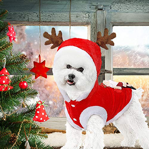 PIXRIY Santa Dog Costume with Hat, Christmas Hoodie Coat Soft Warm Clothes Reindeer Apparel for Puppy Teddy Dog Chihuahua Yorkshire Poodle Maltese (M)