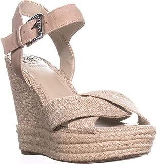 Womens Sanda Leather Open Toe Casual Platform Sandals, Tan, Size 9.0