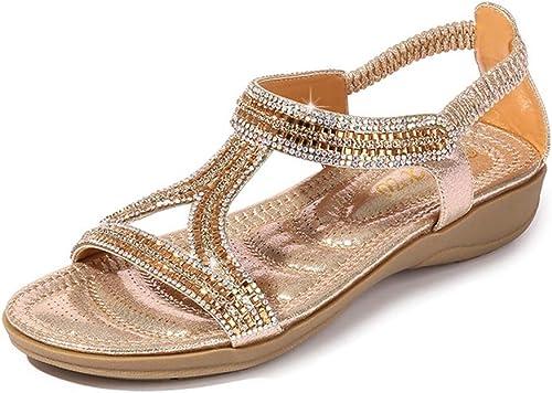 Pantoufles, Sandales Sandales Creuses Triangle Strass Sandales Chaussures Plates compensées,D,42