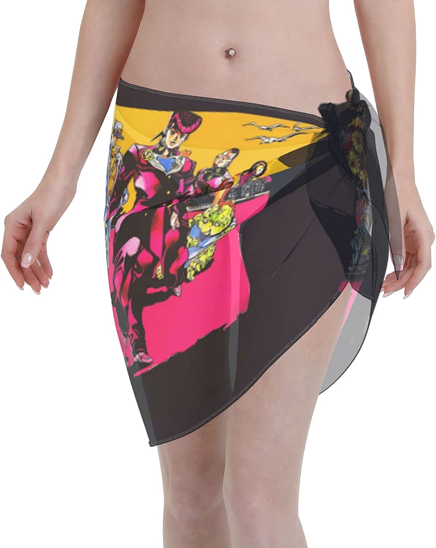 ArtPresarron Anime JoJo's Bizarre Adventure Women Short Sarongs Beach Wrap Sheer Bikini Wraps Chiffon Cover Ups for Swimwear (5519in) Black