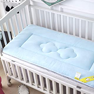 D&LE Baby Mattress, Thicken Crib Mattress Topper Foldable 4cm Breathable Soft Reversible Mattress-Blue 56x100cm