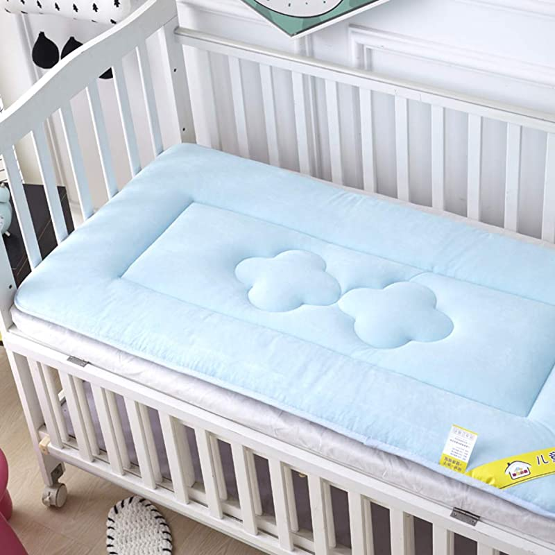 D LE Baby Mattress Thicken Crib Mattress Topper Foldable 4cm Breathable Soft Reversible Mattress Blue 56x100cm