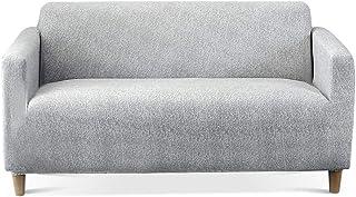 Carvapet Elastischer Sofabezug Sofahusse Gedrucktes Muster Couchbezug Sofa Couch Überwürf Grau, 2 Sitzer