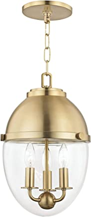 Hudson Valley ケネディ 10インチ ワイド エイジド 真鍮 3ライト ミニペンダント