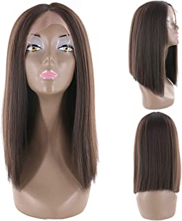 Buladou Hair Natural Looking Yaki Straight Lace Front Synthetic Bob Wigs Medium Length Bob Heat Resistant Fiber Wigs Dark Brown 14inch (#2)