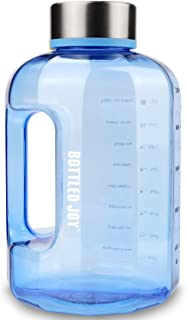 BOTTLED JOY Large Water Bottle Portable Half Gallon Water Bottle Jug 2.2 L / 75 OZ Motivational Fitness Big Sports Water B...