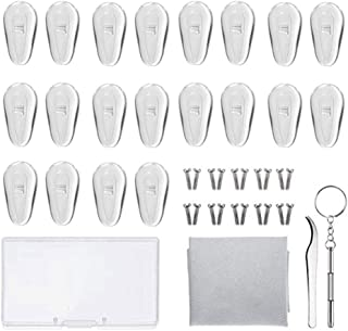 Eyeglass Repair Kit Hamkaw Soft Spectacle Sunglass Glasses Nose Pad Set 10 Pairs Air Chamber Nose Pads Screw-in Eyeglass Nose Pads with Screws Screwdriver Tweezer and Cleaning Cloth (15mm, Clear)