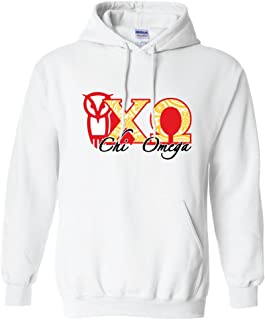 VictoryStore Apparel - Chi Omega, Greek Letters with Paisley Hooded Sweatshirt